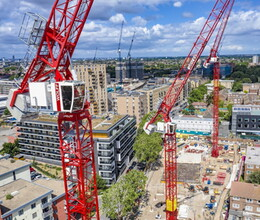 Three new WOLFF hydraulic luffing jib cranes on Wates' Gascoigne West residential project in London